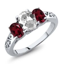 2.30 Ct Oval White Topaz Red Rhodolite Garnet 925 Sterling Silver Ring