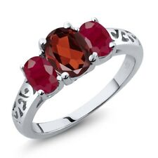 2.40 Ct Oval Red Garnet Red Ruby 925 Sterling Silver Ring