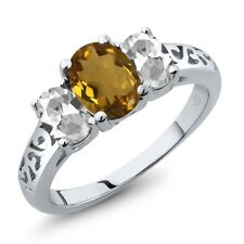 2.00 Ct Oval Whiskey Quartz White Topaz 925 Sterling Silver Ring