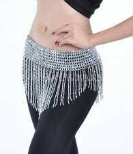 Belly Dance Costume Hip Scarf Bead Tassel Triangle Elastic Belt Gothic SDE