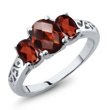 2.40 Ct Oval Checkerboard Red Garnet 925 Sterling Silver Ring