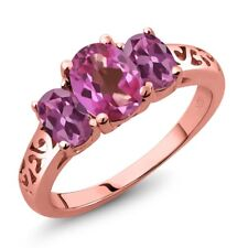 2.30 Ct Oval Pink Mystic Topaz Pink Tourmaline 18K Rose Gold Plated Silver Ring