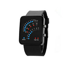 Blue&Red LED Black/White Rubber Digital Wrist Watch Mens Womens Date SDE