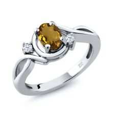 0.78 Ct Oval Whiskey Quartz White Topaz 925 Sterling Silver Ring