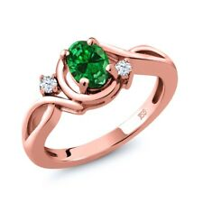 0.68 Ct Green Simulated Emerald White Topaz 18K Rose Gold Plated Silver Ring