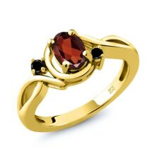 0.97 Ct Oval Red Garnet Black Diamond 18K Yellow Gold Plated Silver Ring