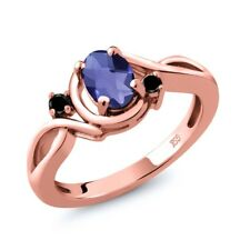 0.72 Ct Oval Checkerboard Blue Iolite Black Diamond 14K Rose Gold Ring