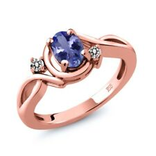 0.82 Ct Oval Blue Tanzanite White Diamond 18K Rose Gold Plated Silver Ring