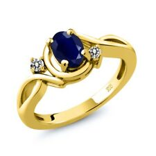 1.09 Ct Oval Blue Sapphire White Diamond 18K Yellow Gold Plated Silver Ring