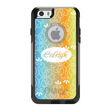 Monogram OtterBox Commuter for iPhone 5S 6 6S Plus Blue Orange Yellow Floral
