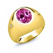 6.04 Ct Oval Pink Created Sapphire White Sapphire 18K Yellow Gold Men's Ring