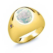 4.08 Ct Oval White Simulated Opal Purple Amethyst 18K Yellow Gold Men's Ring