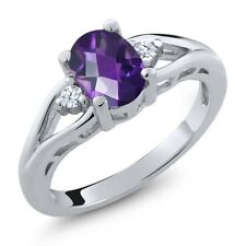 1.08 Ct Oval Checkerboard Purple Amethyst White Topaz 925 Sterling Silver Ring