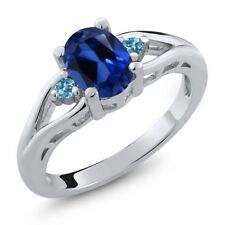 1.70 Ct Oval Blue Simulated Sapphire Swiss Blue Topaz 925 Sterling Silver Ring