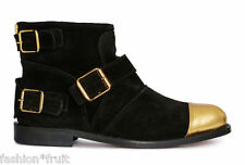 New H&M x Balmain Women Suede Leather Black Gold Buckle Ankle Boots EU38 UK5 US7