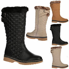 Roxy Womens Quilted Faux Fur Lined Thick Sole Ladies Mid Calf Boots Shoes Size