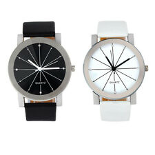 Fashion Mens Watch Stainless Steel Leather Band Analog Quartz Wrist Watches Gift