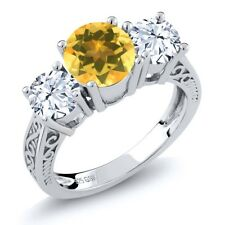 2.30 Ct Round Yellow Citrine White Topaz 925 Sterling Silver 3-Stone Ring