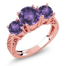 9.10 Ct Round Purple VS Amethyst 18K Rose Gold Plated Silver 3-Stone Ring