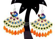 Fashion 40mm Multicolor Peafowl Pendant with Pink drop coral dangle earring-e417