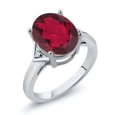 4.02 Ct Oval Ruby Red Mystic Quartz 14K White Gold Ring