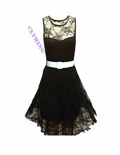 WOMENS FLORAL LACE SKATER BELTED BODYCON NET FRILL TU-TU NET MINI DRESS TOP 6-26