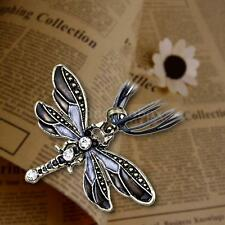 Fashion Vintage Bronze Dragonfly Long Pendant Chain Necklace Rhinestone Gift