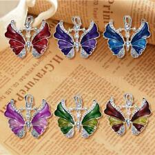 Fashion White Gold GP Metal Crystal Butterfly Pendant Chain Necklace Women XI70