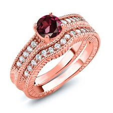 1.35 Ct Round Red Rhodolite Garnet 18K Rose Gold Plated Silver Ring