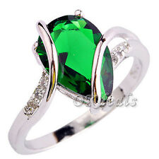 Emerald White Topaz Women Men Gems Silver Plated Jewelry Ring Size 7 8 Gift