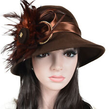 Women Wool Kentucky Derby Church Cloche Hat Feather Rhinestone Wedding Dress Hat