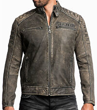 Affliction - IRON HEAD - Men's Leather Biker Jacket MOTO - Vintage Washed Black