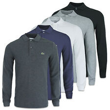 LACOSTE POLO - LACOSTE SLIM FIT LONG SLEEVE POLO - PH4013 - BLACK/GREY/NAVY-BNWT