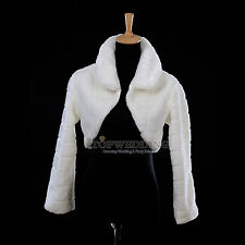 Ivory Faux Fur Bridal Wedding Dress Bolero Jacket Party Shrug Wrap Shawl Coat