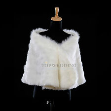 Ivory Faux Fur Bridal Wedding Dress Wrap Shawl Formal Party Evening Stole Cape
