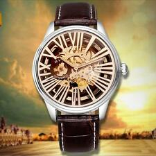 Mechanical Mens Classic Leather Dial Skeleton Wristwatch Sport Analog Watch 4N64