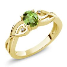 0.51 Ct Oval Green Peridot White Diamond 18K Yellow Gold Plated Silver Ring