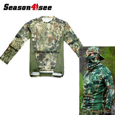 Camouflage Men Long-sleeve Cotton Blend T-shirt  Tactical Hunt Army Forest Green