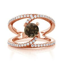 1.38 Ct Round Brown Smoky Quartz 18K Rose Gold Plated Silver Swirl Ring