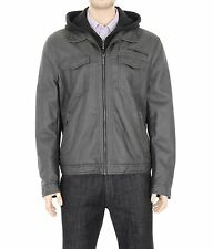 Kenneth Cole Reaction Solid Charcoal Gray Faux Leather Jacket With Hood