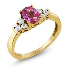 0.82 Ct Oval Pink Mystic Topaz White Topaz 14K Yellow Gold Ring
