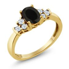 0.71 Ct Oval Black Onyx White Topaz 14K Yellow Gold Ring