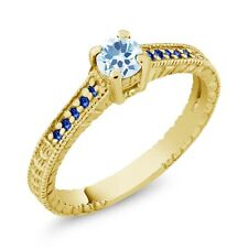 0.43 Ct Round Sky Blue Topaz Blue Sapphire 18K Yellow Gold Plated Silver Ring