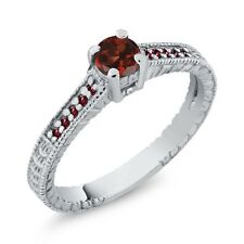 0.47 Ct Round Red Garnet Rhodolite Garnet 925 Sterling Silver Engagement Ring