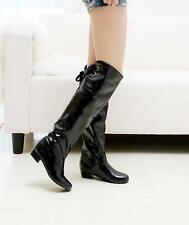 2016 Womens Shoes Cuban Low Heel Synthetic Leather Knee High Boots US Size Plus