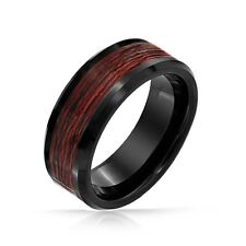 Tungsten Carbide Ring Men's Wedding Band Wood Inlaid Size 7-13