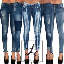 Womens Low Rise Sexy Lace Ripped Blue Denim Stretch Skinny Fit Jeans Size 6-14
