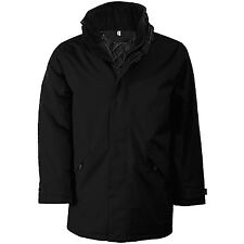 Kariban KB677 Padded Parka Zipped Jacket With Concealed Hood Fleece Lined Collar