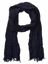 John Varvatos Star USA Men's Scarf Gingham Navy Merino Wool SCW2649 $75 msrp NWT