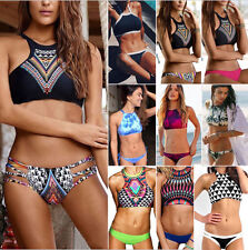 Women Halter Neck Bikini Set Push-Up String Crop Top Beachwear Swimwear Swimsuit